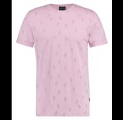 Kultivate T-shirt Ronde Hals Print Roze (1901020225 - 479 - Thistle)