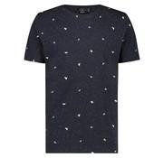 Kultivate T-shirt Ronde Hals Print Navy Blauw (1901030210 - 302 - Navy Melange)