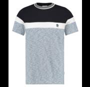Kultivate T-shirt Ronde Hals Streep Navy/Wit/Blauw (1901030214 - 331 - Blue Fog Melange)