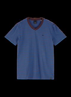 Scotch & Soda V-hals T-shirt Gestreept Blauw/Bruin (155404 - 0218)