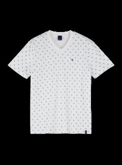 Scotch & Soda V-hals T-shirt Print Wit (155404 - 0220)
