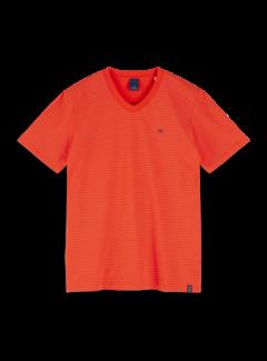 Scotch & Soda V-hals T-shirt Gestreept Rood (155404 - 0221)