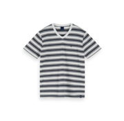 Scotch & Soda V-hals T-shirt Gestreept Zwart/Wit (155404 - 0587)