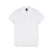 Scotch & Soda Polo Classic Pique Print Wit (155456 - 0218)