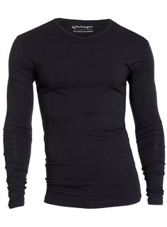 Garage Basic Longsleeve T-shirt V-hals Body Fit Zwart (0204 - 200)
