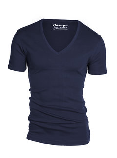 Garage Basic T-shirt Diepe V-Hals Semi Bodyfit Navy (0304 - 400)