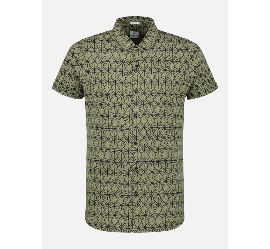 Korte Mouw Overhemd Print Army Groen (311202 - 511)