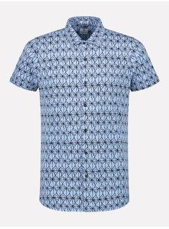 Dstrezzed Korte Mouw Overhemd Print Lichtblauw (311202 - 625)