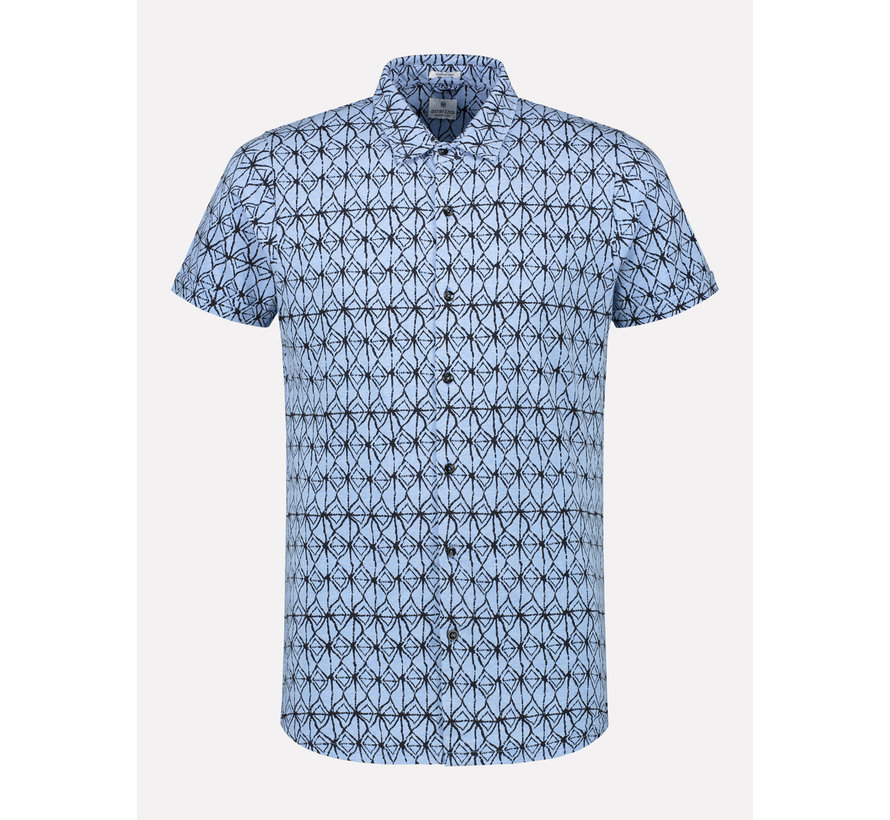 Korte Mouw Overhemd Print Lichtblauw (311202 - 625)