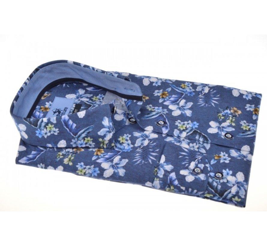 Korte Mouw Overhemd Bloemen Donkerblauw (215228 - 37)