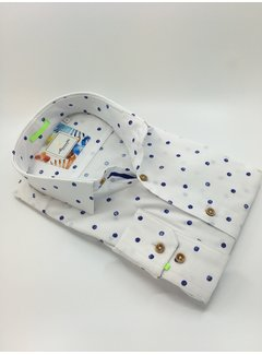 Marnelli Overhemd Hidden Button Down Tailored Fit Ink Dots Wit (SH007-5-304)