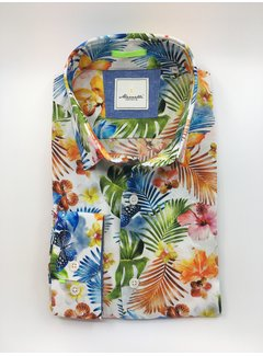 Marnelli Overhemd Hidden Button Down Tailored Fit Ink Flower Print (SH008-5-350)