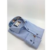 Marnelli Overhemd Hidden Button Down Tailored Fit Ink Flower Print Licht Blauw (SH029-7-016)