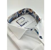 Marnelli Overhemd Hidden Button Down Tailored Fit Ink Flower Print Wit (SH029-5-004)