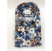 Marnelli Overhemd Hidden Button Down Tailored Fit Ink Flower Print (SH032-5-313)
