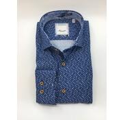Marnelli Overhemd Hidden Button Down Tailored Fit Ink Dots Blauw (SH040-5-310)