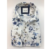 Marnelli Overhemd Hidden Button Down Tailored Fit Ink Flowers Wit (SH041-5-304)