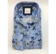 Marnelli Overhemd Hidden Button Down Tailored Fit Ink Flowers Blauw (SH041-5-316)