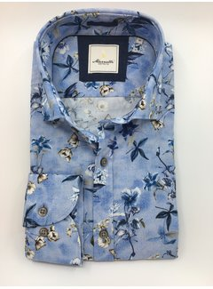 Marnelli Overhemd Hidden Button Down Tailored Fit Ink Flowers Blauw (SH041-5-316)