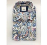 Marnelli Overhemd Hidden Button Down Tailored Fit Ink Flowers Blauw (SH052-5-304)