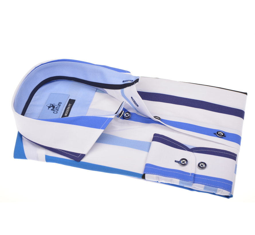 Overhemd Modern Fit Gestreept Blauw/Wit (215327 - 38)