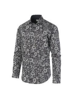 Jackett & Sons Overhemd Print Bloemen Beige/Navy (JS2913 - Navy)