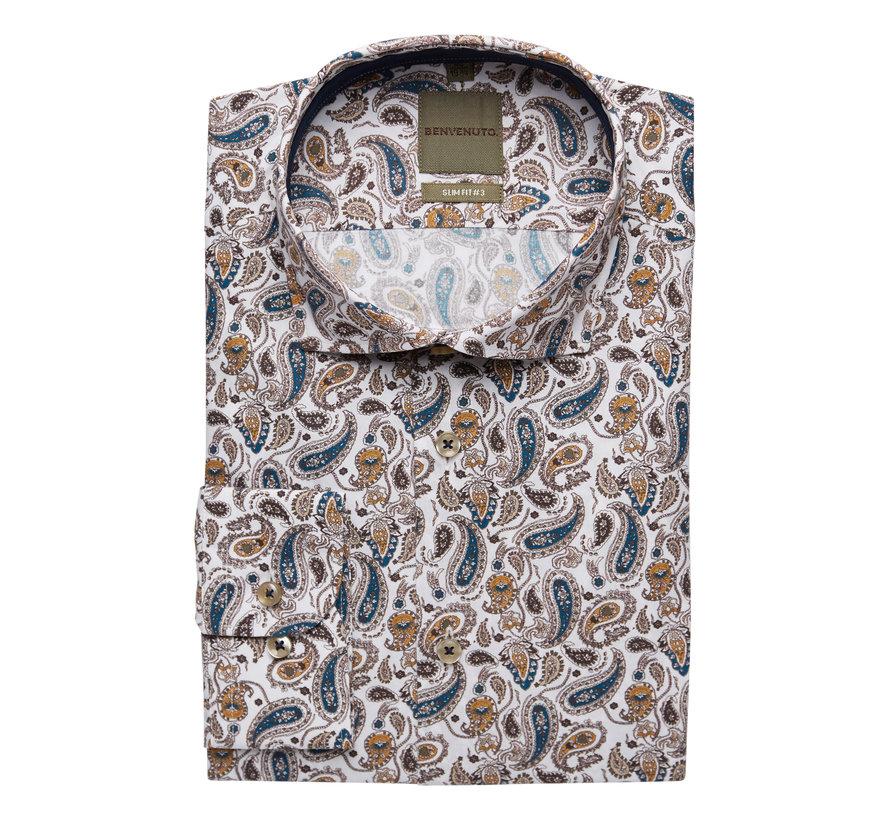 Overhemd Pembrake Washed Print Wit (68557-47576-1183)