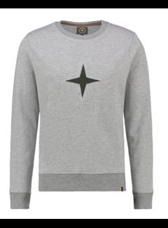 Haze&Finn Sweater Grijs Met Logo Groen (MU13 - 0402 - Army Green)