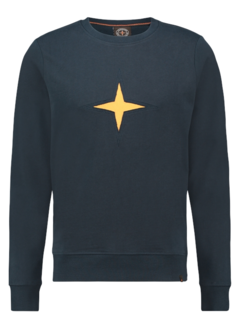 Haze&Finn Sweater Navy Blauw Met Logo Geel (MU13 - 0402 - Sapphire Melange)