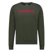 Haze&Finn Sweater Army Groen Met Logo (MU13 - 0421 - Army Green)