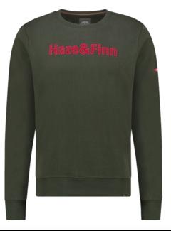 Haze&Finn Sweater Army Groen Met Logo (MU13 - 0421 - Army Green)