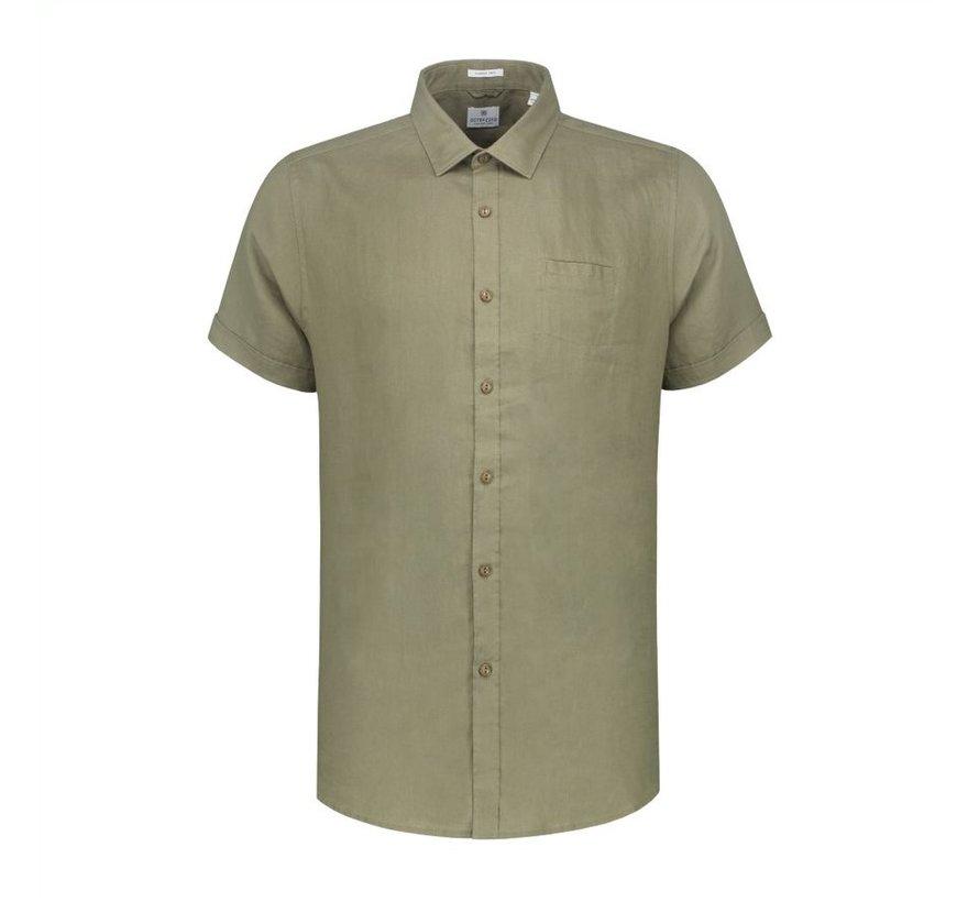 Overhemd Korte Mouwen Linnen Army Groen (311136 - 511)