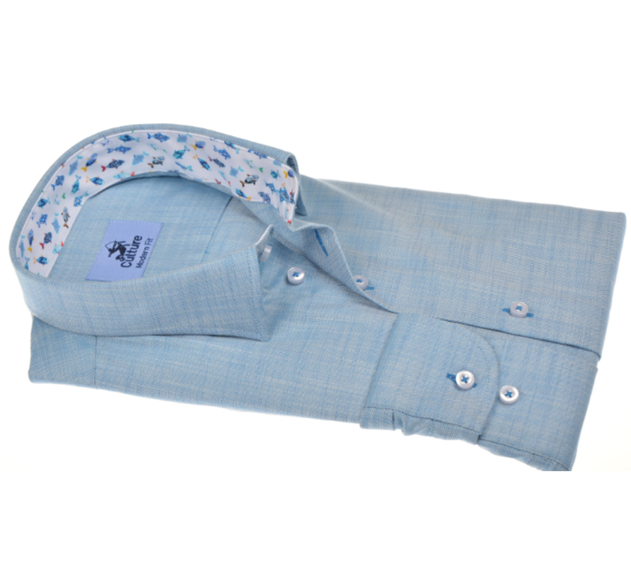 Overhemd Modern Fit Lichtblauw Gemeleerd (215006 - 32)