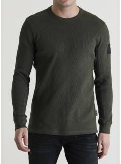 CHASIN' Sweater Ronde Hals Fibre Donker Groen (5111400049 - 220E)