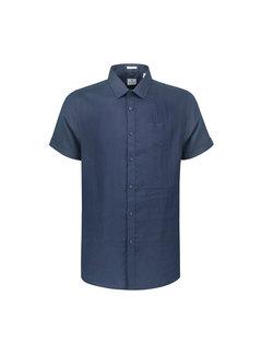 Dstrezzed Overhemd Korte Mouw Linnen Navy Blauw (311136 - 669)