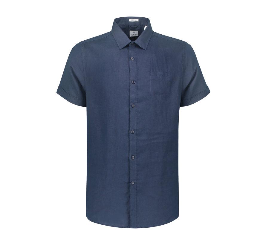 Overhemd Korte Mouw Linnen Navy Blauw (311136 - 669)