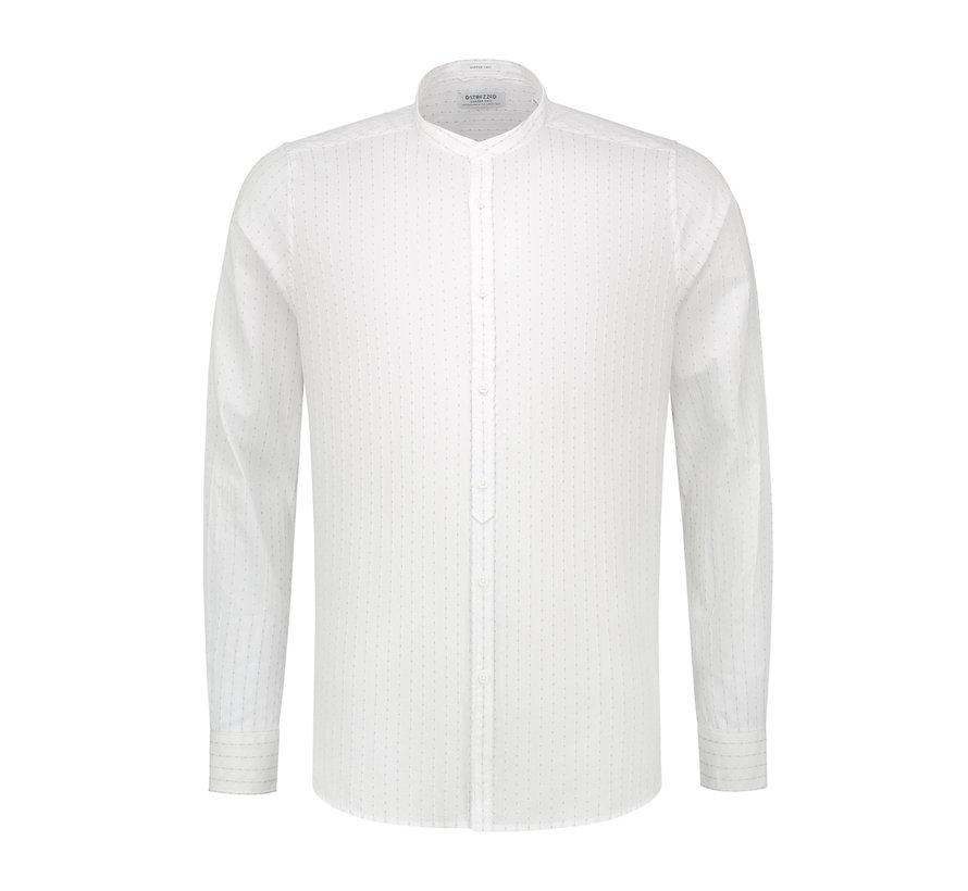 Overhemd Jaquard Stripe Wit (303204 - 100)