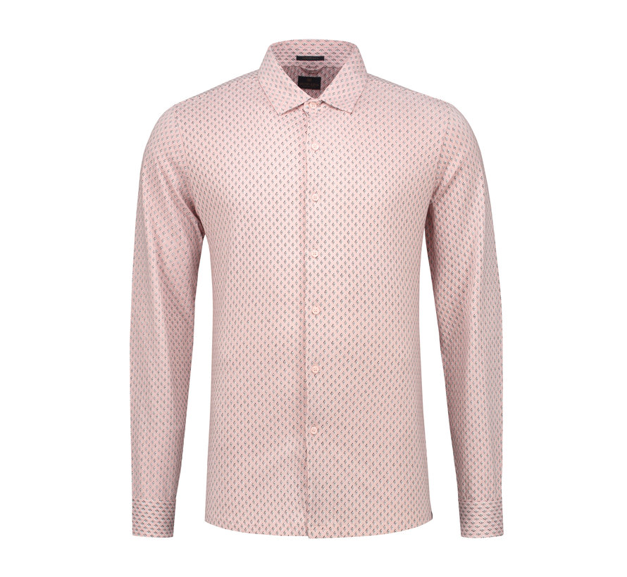 Overhemd Printed Melange Jersey Licht Roze (303228 - 429)