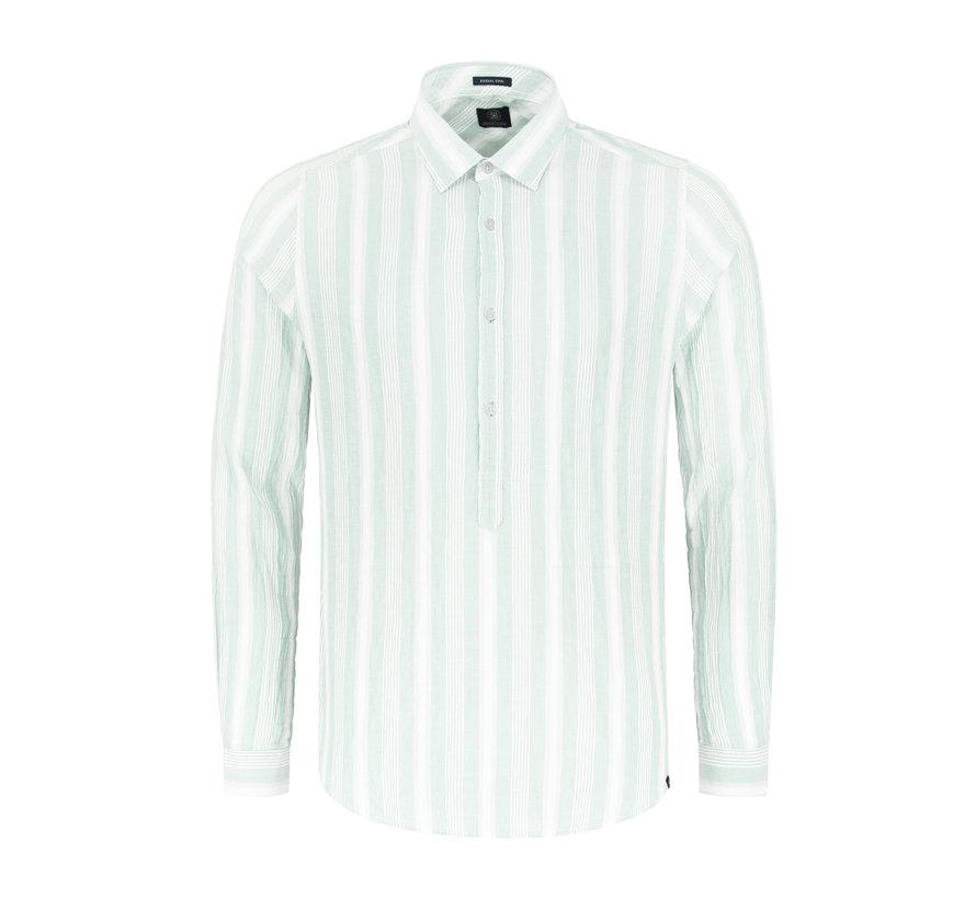 Overhemd Crinkle Stripe Lagoon Groen (303240 - 521)