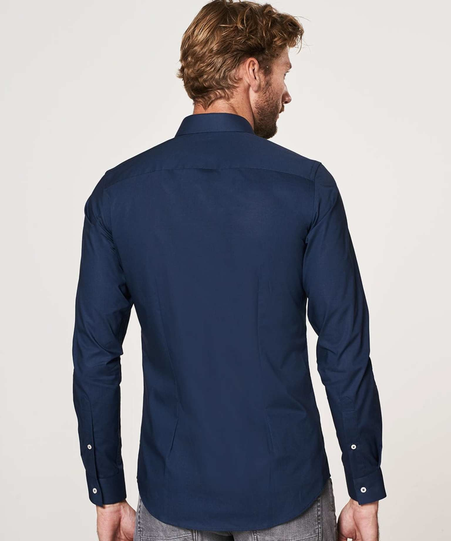 Profouomo Overhemd Super Slim Fit Stretch Navy (PP0H0A103)N