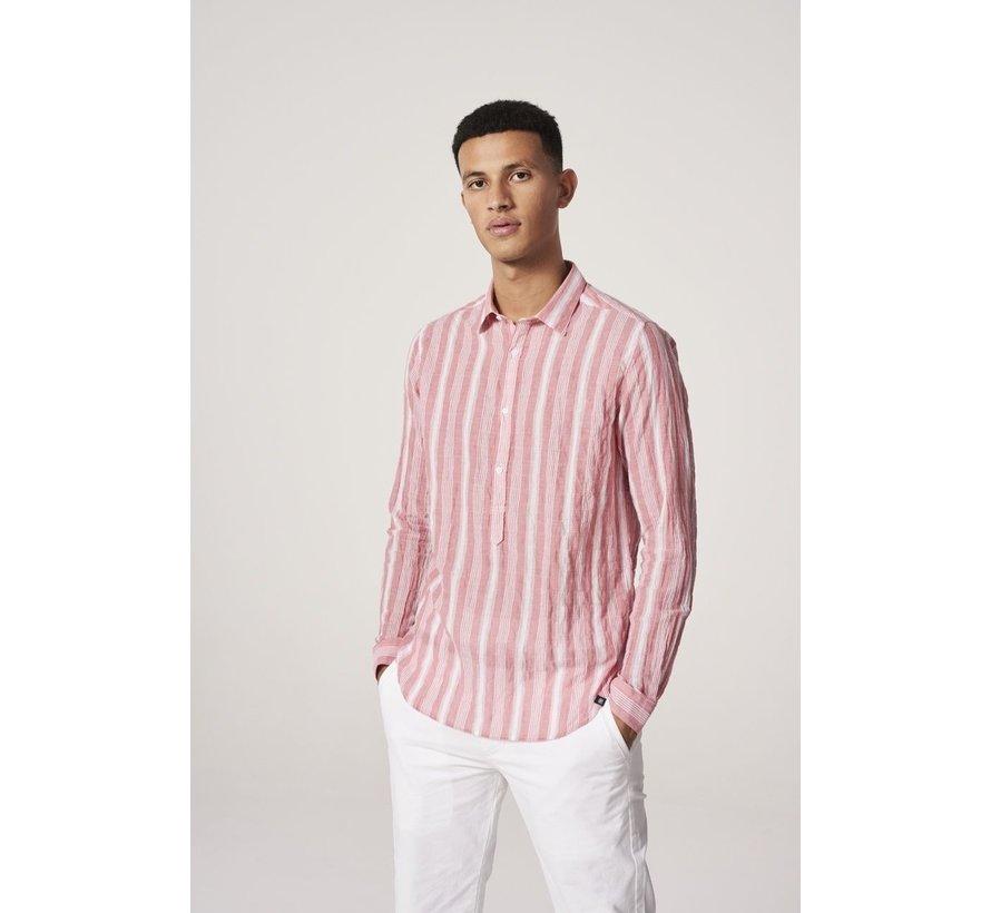 Overhemd Crinkle Stripe Rood (303240 - 428)