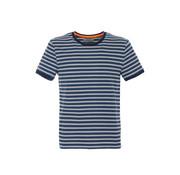 Fred Mello T-shirt Blauw Streep (FM20S29TG - Indigo)