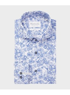 Michaelis Overhemd Slim Fit Extra Mouwlengte Print Blauw (PMRH100047)