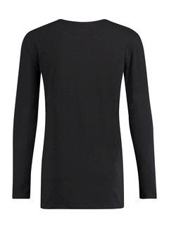 Kultivate T-shirt Lange Mouw Ronde Hals Zwart (9901000602 - 100 - Black)