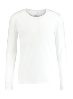 Kultivate T-shirt Lange Mouw Ronde Hals Wit (9901000600 - 200 - White)