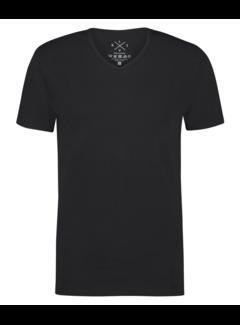 Kultivate T-shirt V-Hals Ric Zwart (9901000204 - 100 - Black)