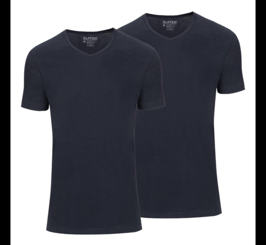Basic Fit 2Pack T-shirt V-hals Navy (7610)