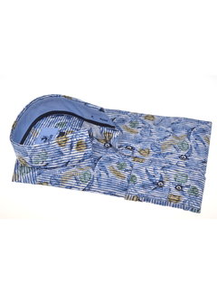 Culture Overhemd Modern Fit Print Blauw (215165 - 53)