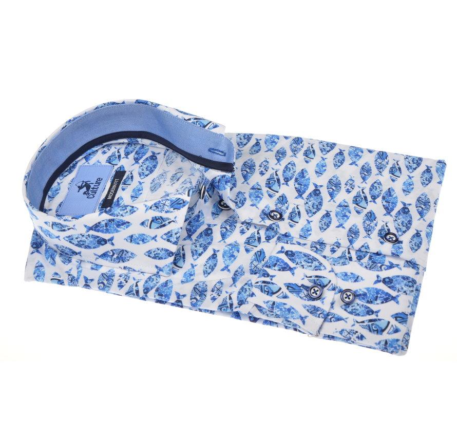 Overhemd Modern Fit Print Blauw (215179 - 34)
