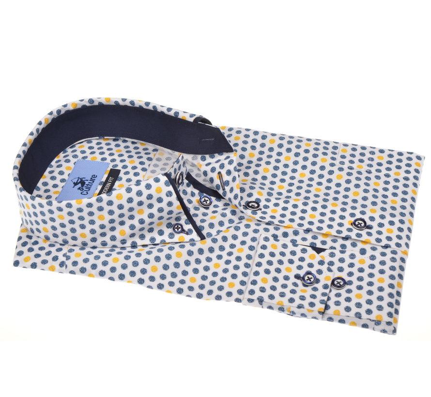 Overhemd Print Blauw/Geel (215311 - 64)